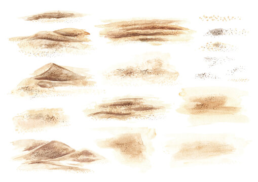 Sand elements set. Hand drawn watercolor illustration isolated on white background