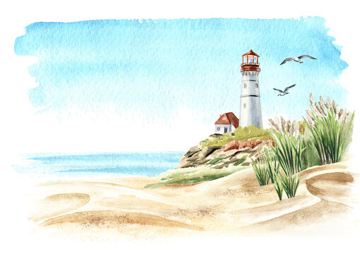 Seascape with rocks and an old lighthouse on the background of the sea with copy space, Hand drawn watercolor illustration, isolated on white background