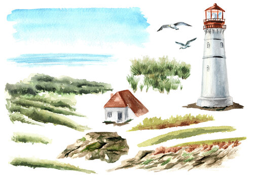 Seascape with rocks and an old lighthouse set, Hand drawn watercolor illustration, isolated on white background