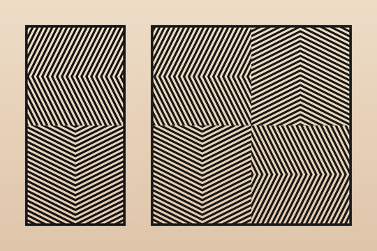 Laser cut patterns. Vector template with abstract geometric ornament, zigzag lines, chevron, grid. Decorative stencil for laser cutting of wooden panel, metal, plastic, paper. Aspect ratio 1:2, 1:1