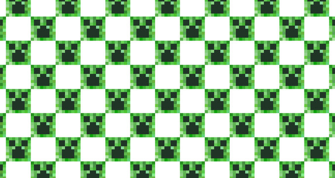 A seamless pattern consisting of pixelated green square heads of the character isolated on a white background. Background in the style of eight-bit video games. Vector illustration