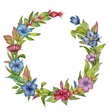 Wreath with colorful flowers on white backround for greeting cards or weddin invitations
