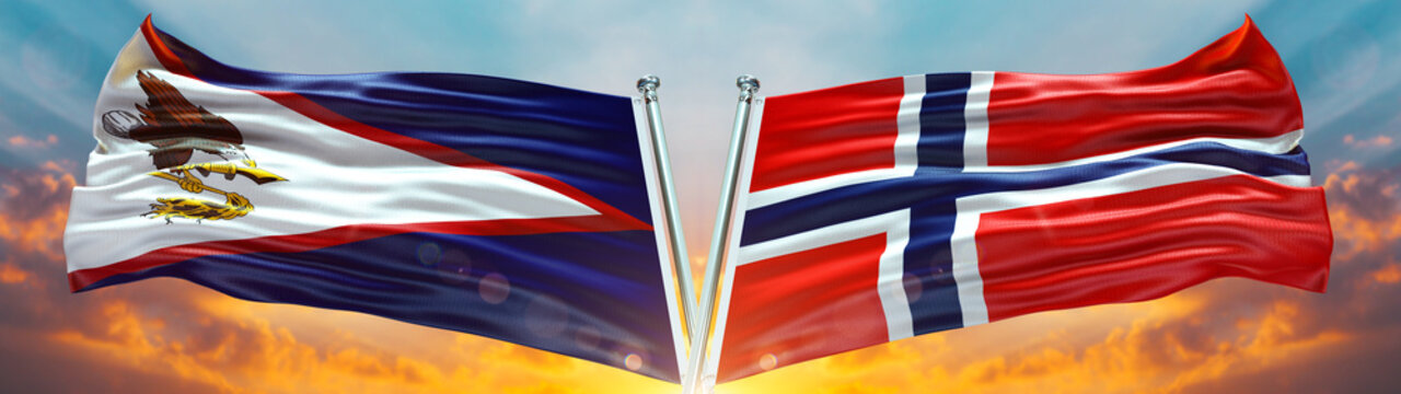 Norway Flag and American Samoa flag waving with texture sky Cloud and sunset Double flag