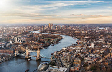 Aerial View Of Tower Bridge Over Thames River Amidst Cityscape