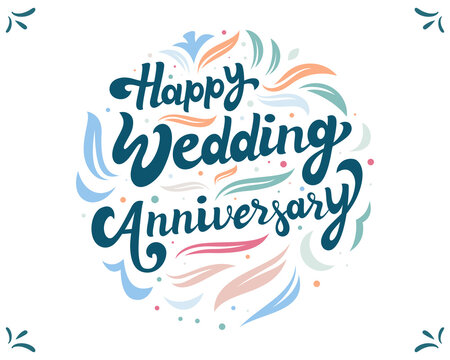 Decorative wedding anniversary greeting design with typography, lettering on white background
