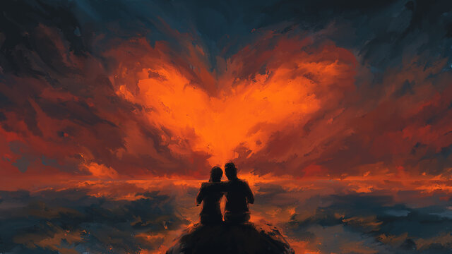 Scene of couple looking heart-shaped clouds , valentine day, romantic ,digital art, Illustration painting.