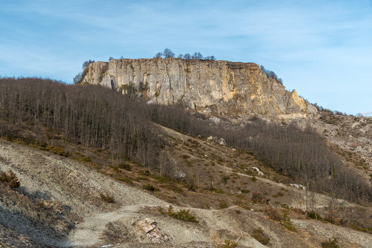 Mountain called Sasso Simone at the boundary of Tuscany, Emilia Romagna and Marche regions, during the winter