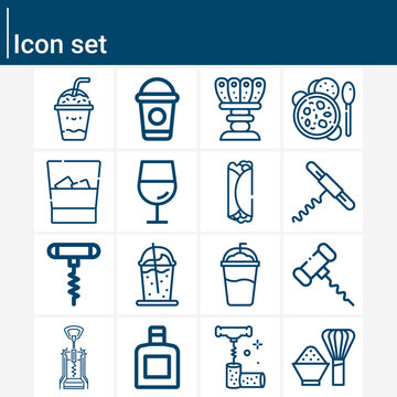 Simple set of beverages related lineal icons.