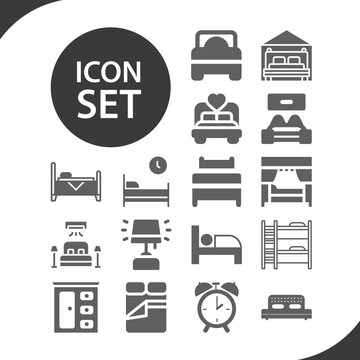 Simple set of sleeping room related filled icons.