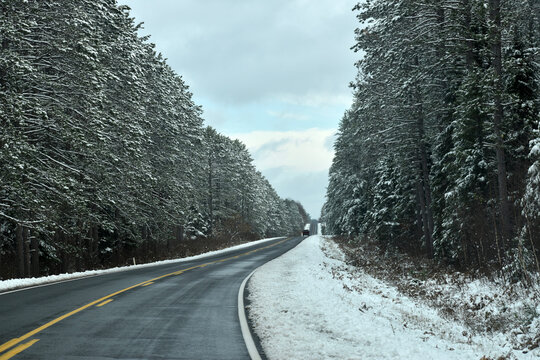 Wisconsin in the winter on clear highway