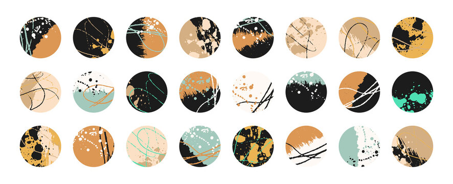 Grunge design set. Abstract circles. Round shape grungy elements collection. Grunge ink splatter. Paint stains. Quirky scribble stickers.