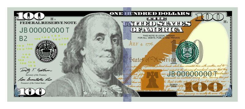 US Dollars 100 banknote - 100 American dollar bill cash money isolated on white background.