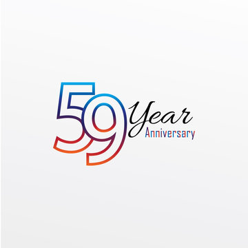 59 years anniversary celebration blue Colors Comical Design logotype. anniversary logo isolated on White background