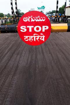 STOP written in Railway crossing