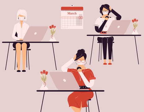 March 8 International Women Day.Cute female in protective medical masks work on laptops during virus.Vases with tulips on desk.Smart ladies trainers,clerks,accountants or auditors at accounting.Raster