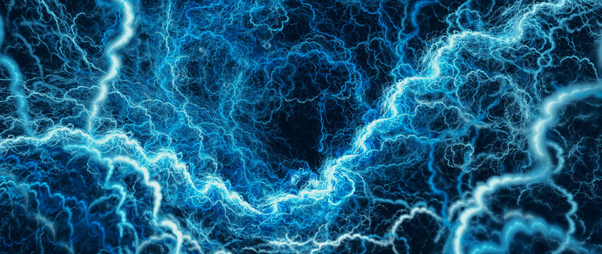 Blue glowing high voltage lightning abstract background