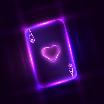 Neon ace of hearts made for poker and casino