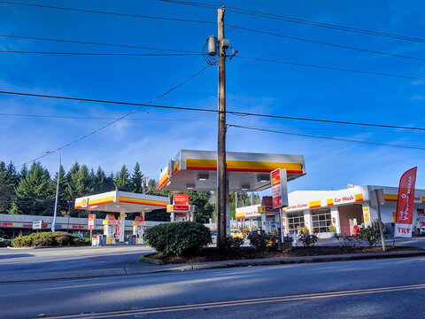 Kirkland, WA / USA - circa January 2020: Street view of a Shell gas pumping station on a clear sunny day in the pacific northwest
