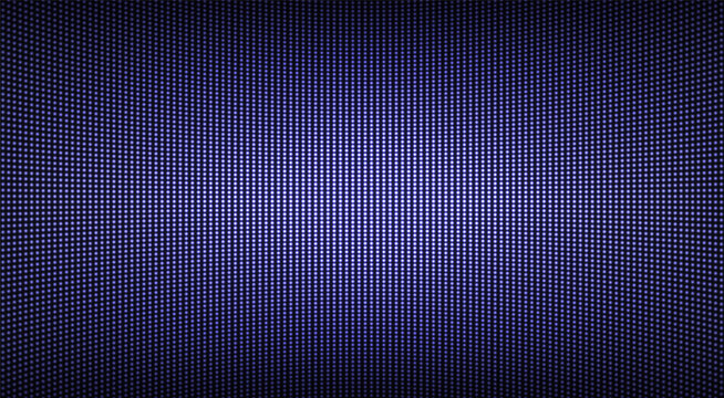 Led screen texture. Lcd monitor with dots. Pixel digital display. Electronic diode effect. Projector grid template. Horizontal television background. Purple videowall with bulbs. Vector illustration.