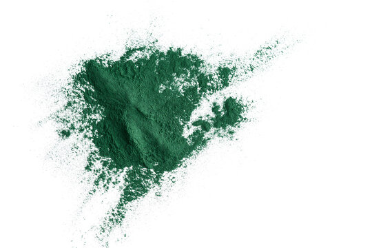 Spirulina powder on a white background, with copy space
