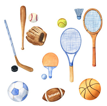 Sports equipment set: rugby, tennis, badminton, hockey, basketball, soccer and baseball. Watercolor illustration on a white isolated background.