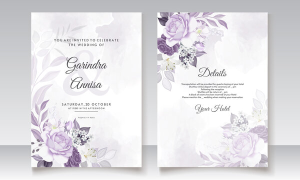 Elegant wedding invitation card with purple  floral and leaves template Premium Vector