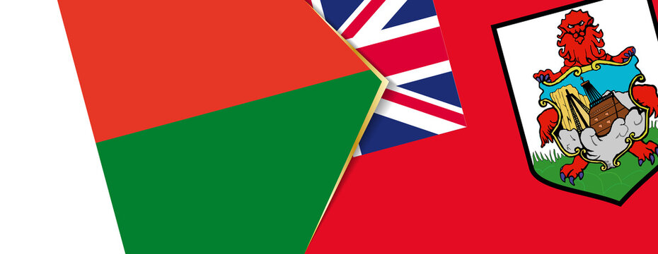Madagascar and Bermuda flags, two vector flags.