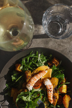 summertime lunch, prawn salad and white wine