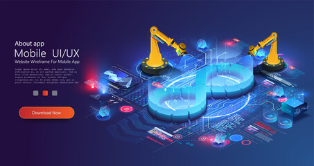 Devops banner. Development operations, continuous process of software production and administration. Hologram of lifecycle infinity symbol and robot manipulators. Coding building testing  monitoring