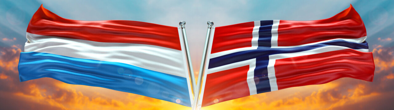 Norway Flag and Luxemburgo flag waving with texture sky Cloud and sunset Double flag