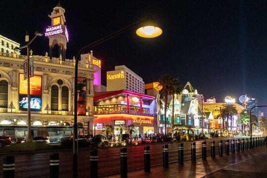 Cityscape on las vegas boulevard with neon lights. Las Vegas, Nevada, United States.