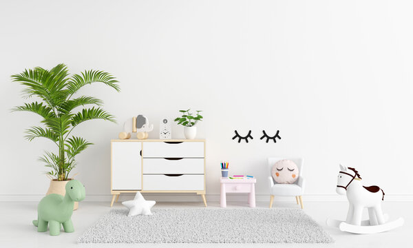 Table and armchair in white child room with free space for mockup, 3D rendering