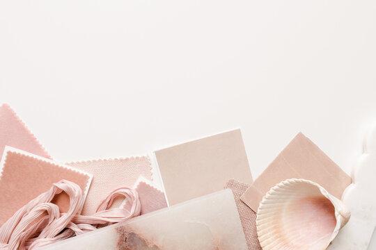 interior design in a blush pink palette