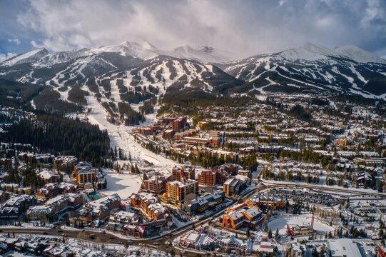 Aerial View of the Ski Town of Breckenridge, Colorado