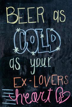 Funny message in a bar blackboard