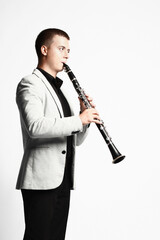 Clarinet player classical musician isolated