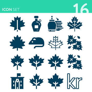 Simple set of 16 icons related to norway