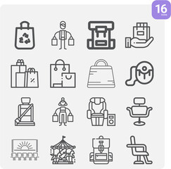 Fototapeta Simple set of belts related lineal icons. obraz