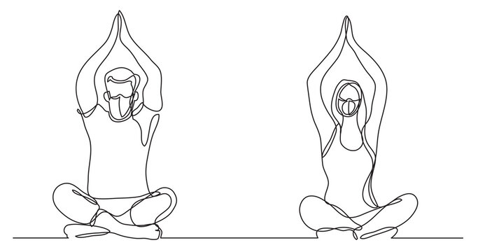 man woman doing yoga wearing face masks - continuous line drawing