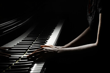 Piano player hands keyboard. Pianist hand playing piano keys