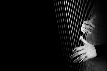 Harp player. Hands playing Irish harp strings closeup
