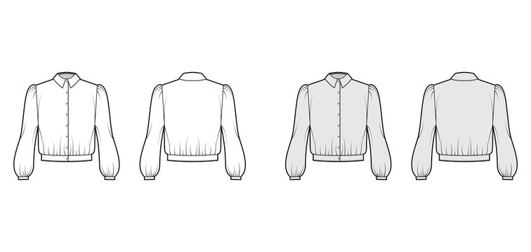 Blouson blouse technical fashion illustration with bouffant long sleeves, classic shirt neck, oversized, button up. Flat apparel top template front, back white grey color. Women, men unisex CAD mockup