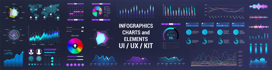 Obraz Colorful UI, UX, GUI interface elements collection. Dashboard User Interface elements. Graphics collection - charts, infographic, diagrams, graphic for UI, UX or Web and Mobile Phone App. Vector set  - fototapety do salonu