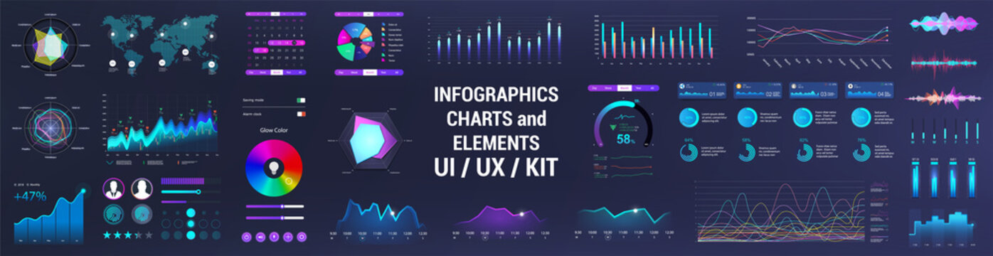 Colorful UI, UX, GUI interface elements collection. Dashboard User Interface elements. Graphics collection - charts, infographic, diagrams, graphic for UI, UX or Web and Mobile Phone App. Vector set