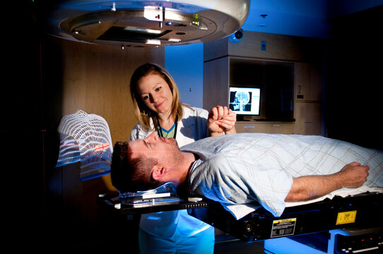 Medical Radiation Cancer Treatment With Brain Cancer Patient at