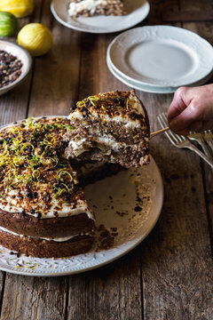 Food: a slice of hummingbird cake