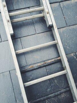 Ladders on a slate roof
