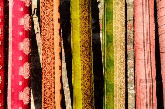 Colorful saris drying. India