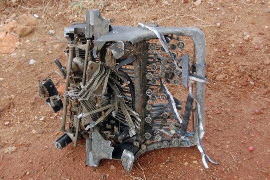 Abandoned typewriter