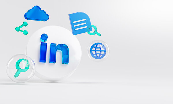 LinkedIn Acrylic Glass Logo and Search Icons Copy Space 3D